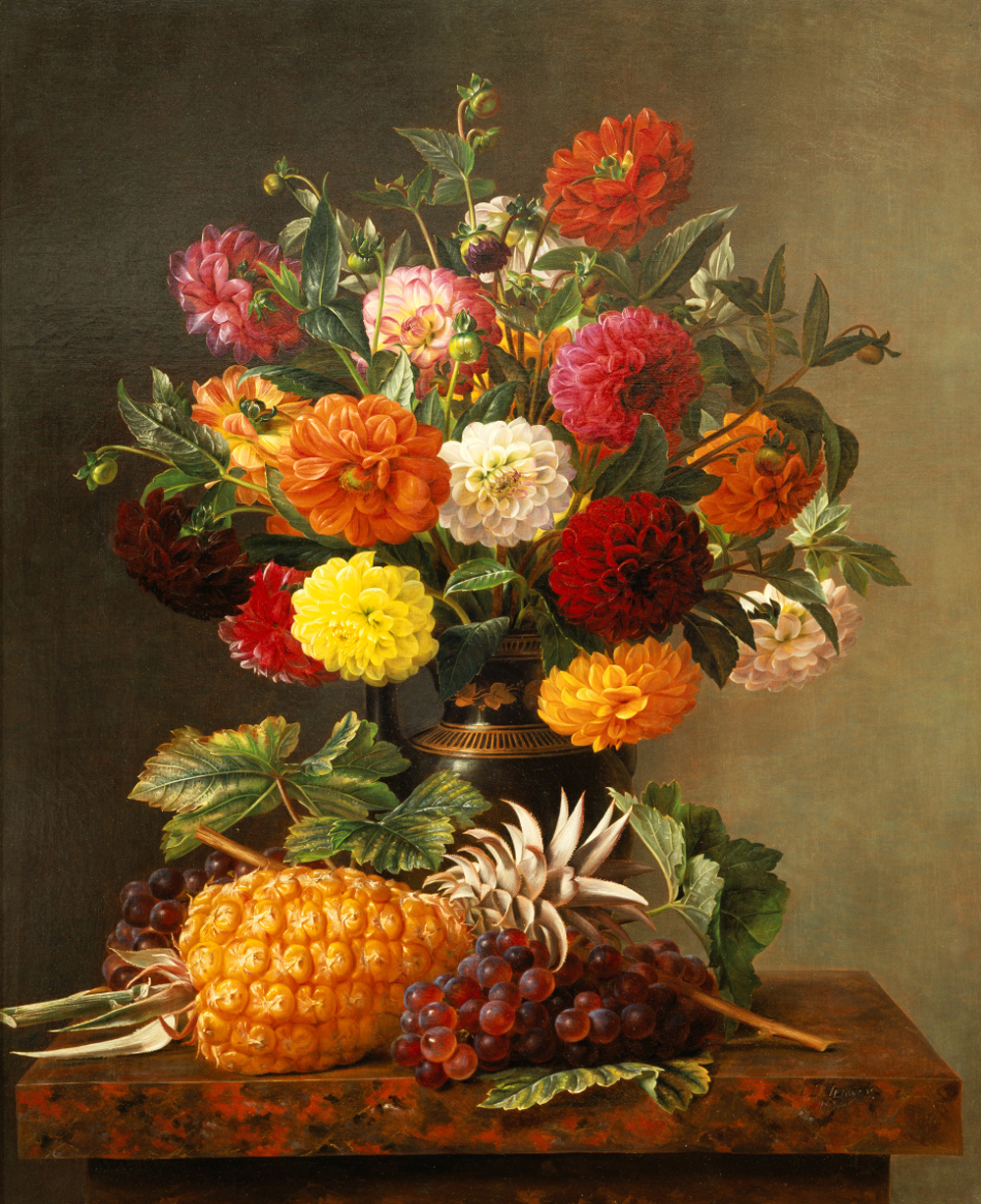 Still_Life_of_Dahlias_with_Pineapple_and_Grapes_by_Johan_Laurentz_Jensen.jpg