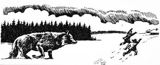 Люди спасаются от волка. Картинка из интернета.