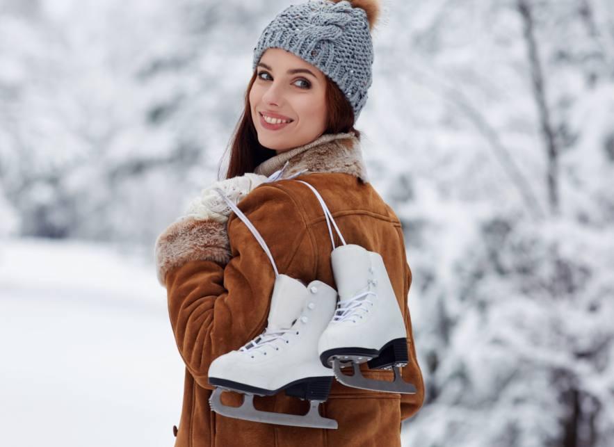 figure skating woman in snow