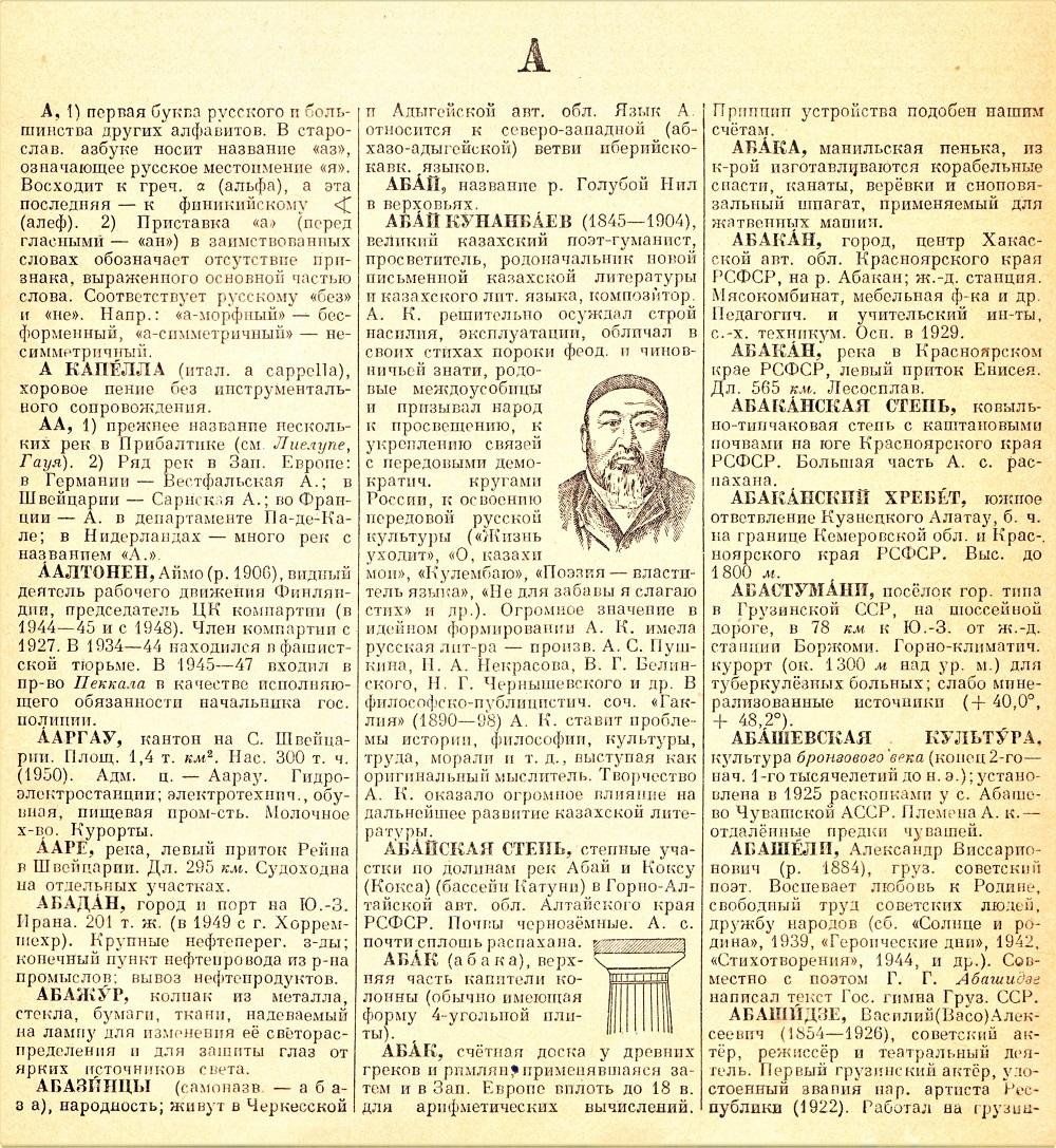 Первая страница энциклопедического словаря.