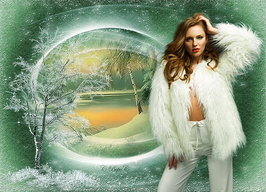 девушка в белой шубке зима