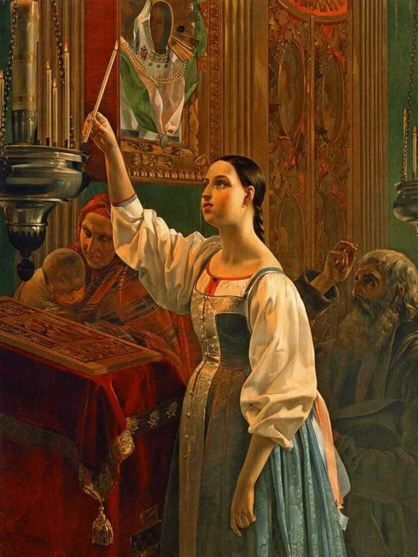 Михайлов Григорий Девушка, ставящая свечу перед образом (1842)