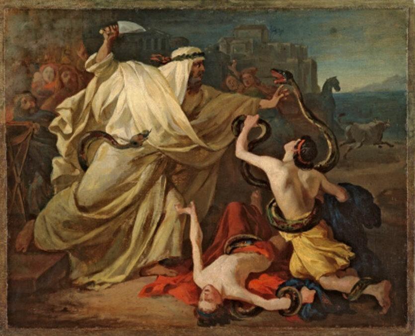 Михайлов Григорий Лаокоон с детьми в борьбе со змеями, эскиз (1841)